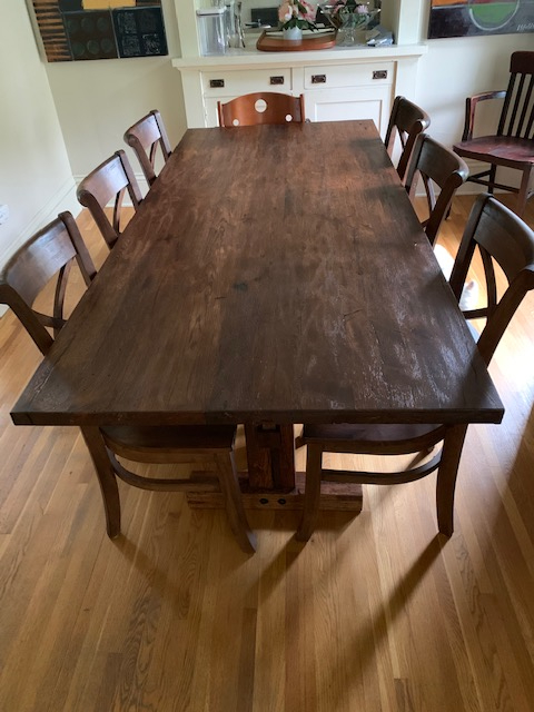 Rustic Reclaimed Oak Harvest Table For Chad