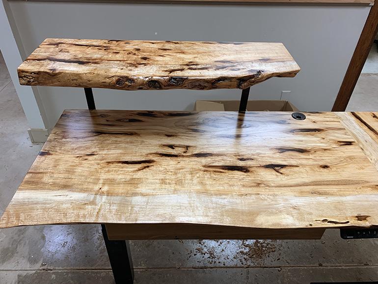 Live Edge Hickory Standing Sitting Desk