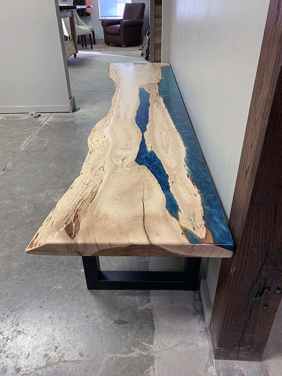 Live Edge Turquoise Epoxy Resin Hickory Bench