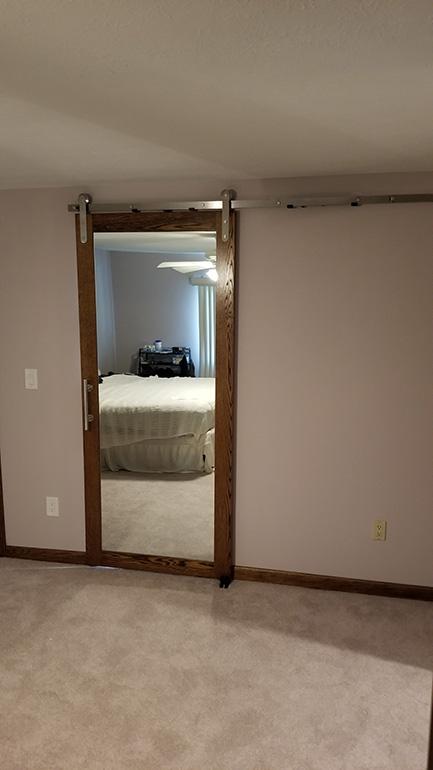Rustic Barn Door With Mirror