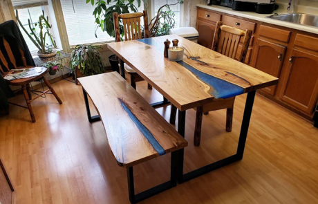 Custom Made Epoxy Resin River Kitchen Table With Matching Bench For Sale Locally Near You (U.S. Only) And Online