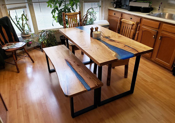 Custom Made Epoxy Resin River Kitchen Table With Matching Bench $6,500 | For Sale Locally Near You (U.S. Only) And Online