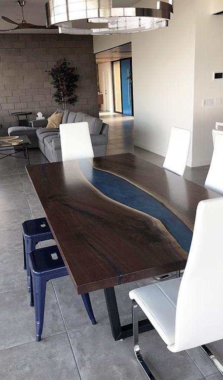 LED Backlit Walnut River Table