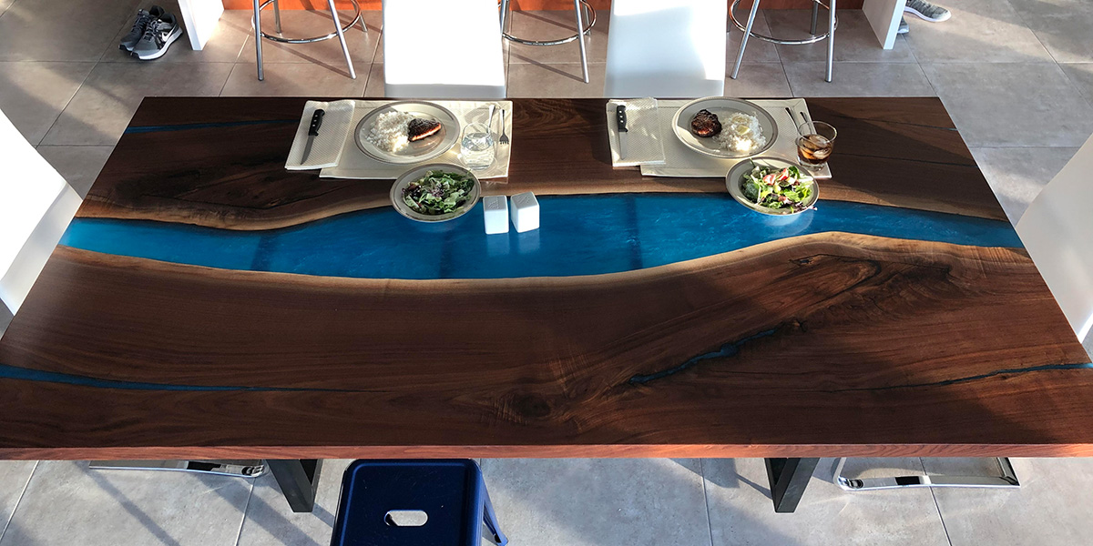 High-End Custom Furniture For Sale Locally Near You (U.S. Only) And Online By CVCF [Modern Live Edge Blue Epoxy Resin River Dining Table Pictured Here - Sold Online In 2020]
