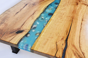 Live Edge Epoxy Resin River Coffee Table With Seashells [For Sale Locally Or Online]