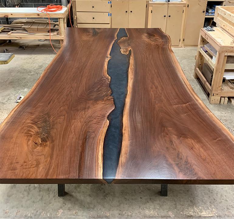 Live Edge Walnut Table With Gray Epoxy