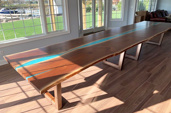 Beautiful Epoxy Resin And Wood River Table