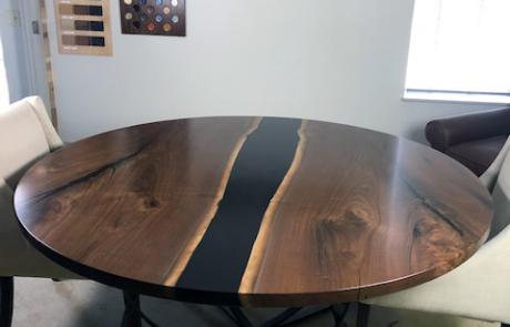 Round Walnut Table With Black Epoxy Resin