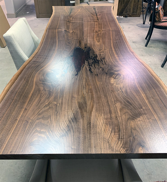 Walnut Dining Table With Red Epoxy Resin