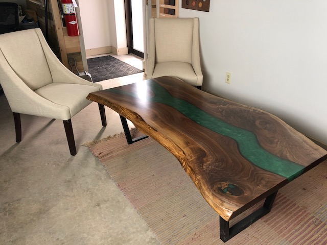 Live Edge Walnut Coffee Table With Green Epoxy Resin
