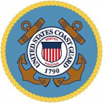 Custom Made Epoxy Resin And Wood Table Embedded With U.S. Coast Guard Seal