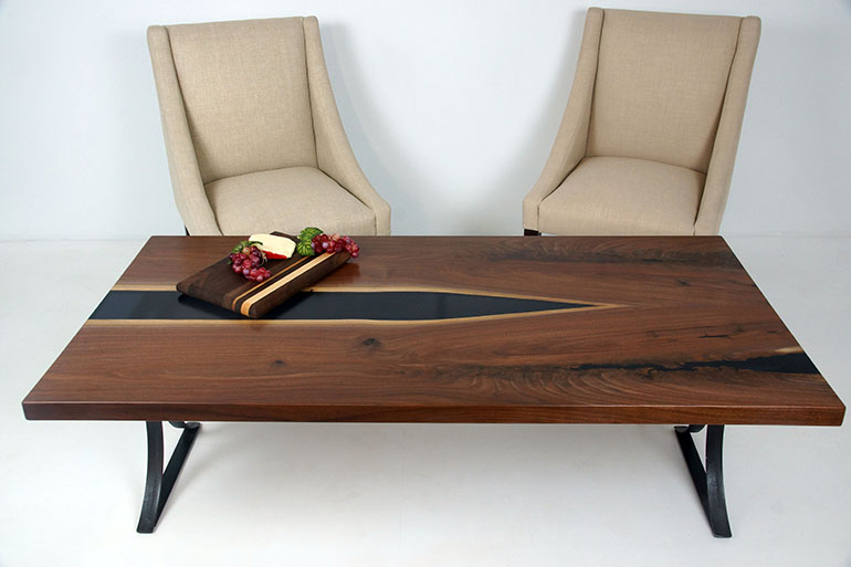 Unique Modern Solid Wood Custom Made Coffee Table $800+ [Black Walnut Coffee River Table]