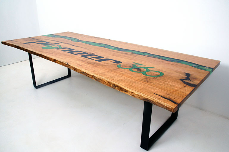 Hickory River Table With Company Name Engraving