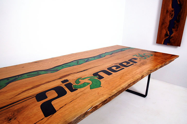 Industrial River Conference Table With Engraved Company Logo
