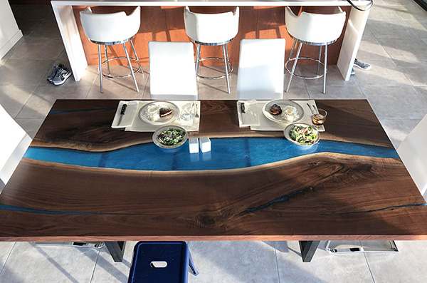 Modern Blue Epoxy Resin River Live Edge Black Walnut Dining Table $4,200+ [Custom Ordered]