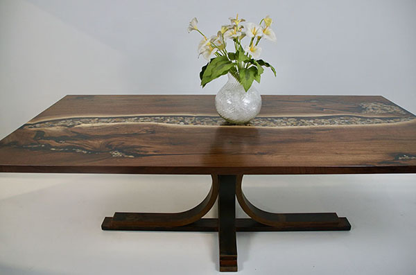 Buy A Clear Epoxy River Rock Dining Table For $6,500+ Walnut Wood   Steel Legs   Handcrafted By Chagrin Valley Custom Furniture