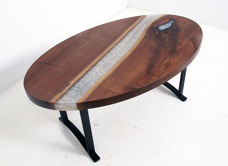 Custom Made Oval Coffee Table With White (Pearl) Epoxy Resin River Sold Online In 2020