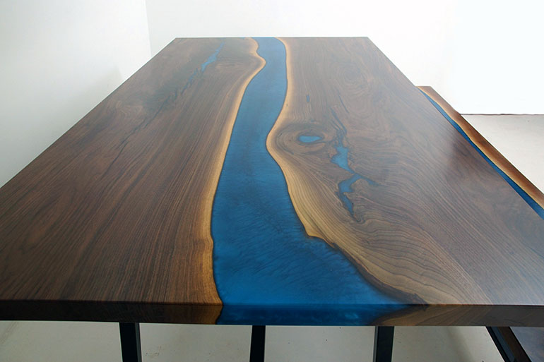 Walnut Epoxy River Picnic Table With Matching Bench