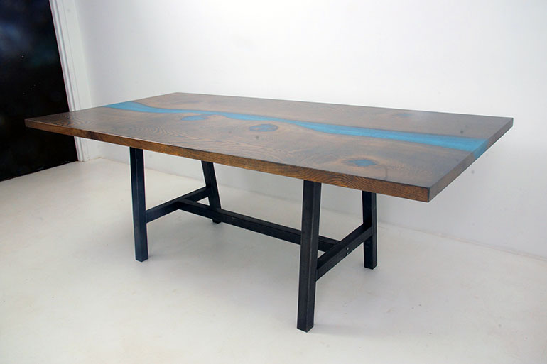 Stained Oak Blue Epoxy Resin River Dining Room Table