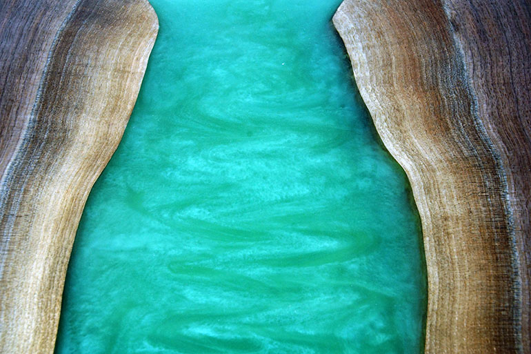 Large Green Epoxy Resin River Dining Table With Matching Credenza