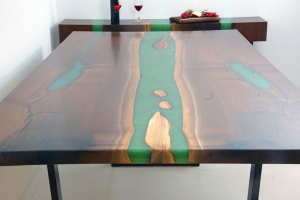 Buy A Large Green Epoxy Resin River Dining Table For Sale Online $8,000+ | Custom Made By Chagrin Valley Custom Furniture | Includes Matching Credenza