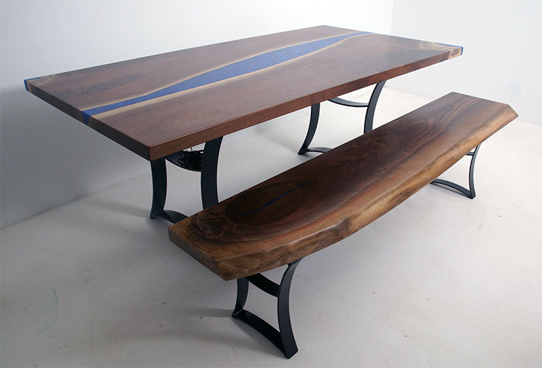 Black Walnut Table And Bench With Blue River And LED Lights