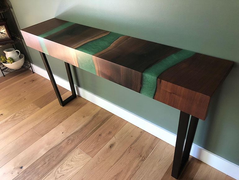 Live Edge Walnut Green River Table And Matching Credenza