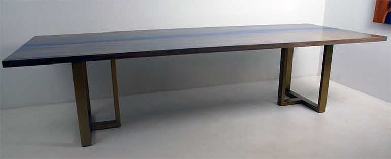 Hickory Dining Room Table Stained Gray With Blue Epoxy Resin River