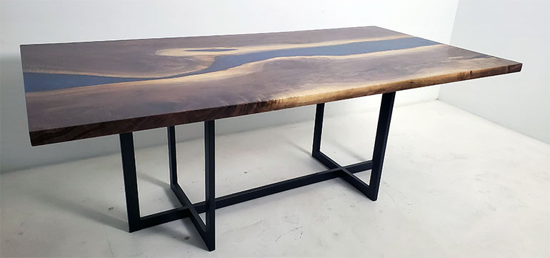 Walnut Blue Epoxy Resin River Dining Table For Robin