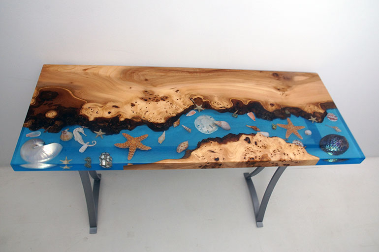 Seashell Ocean Style Coffee Tables For Sale [Epoxy Resin & Live Edge]