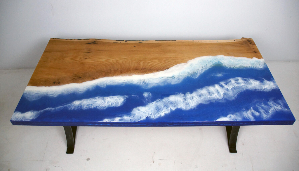 Epoxy Resin Moving Ocean Tables For Sale At The CVCF River Table Online Store From $1,000+