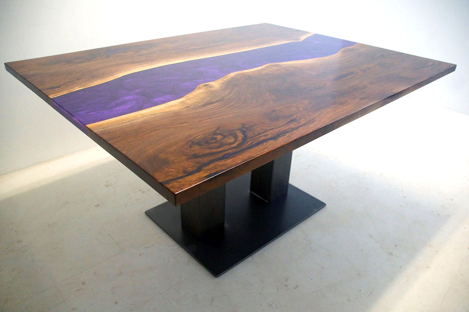 Custom Made Purple Epoxy Resin River Table Sold Online By Chagrin Valley Custom Furniture In 2020 [Live Edge Wood Slab]