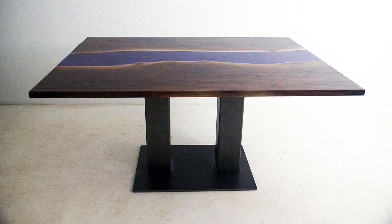 Custom Purple Epoxy River Dining Table
