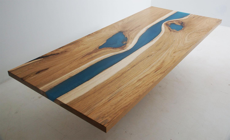 Teal Blue Epoxy River Kitchen Island Countertop