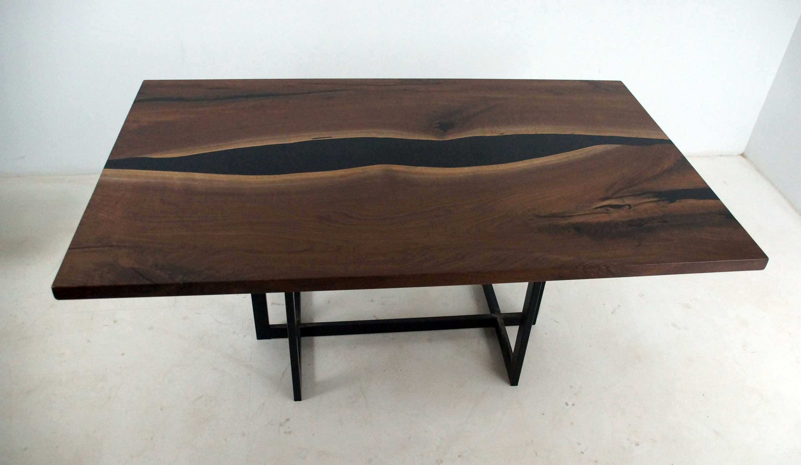 Walnut Dining Room Table With Black Resin