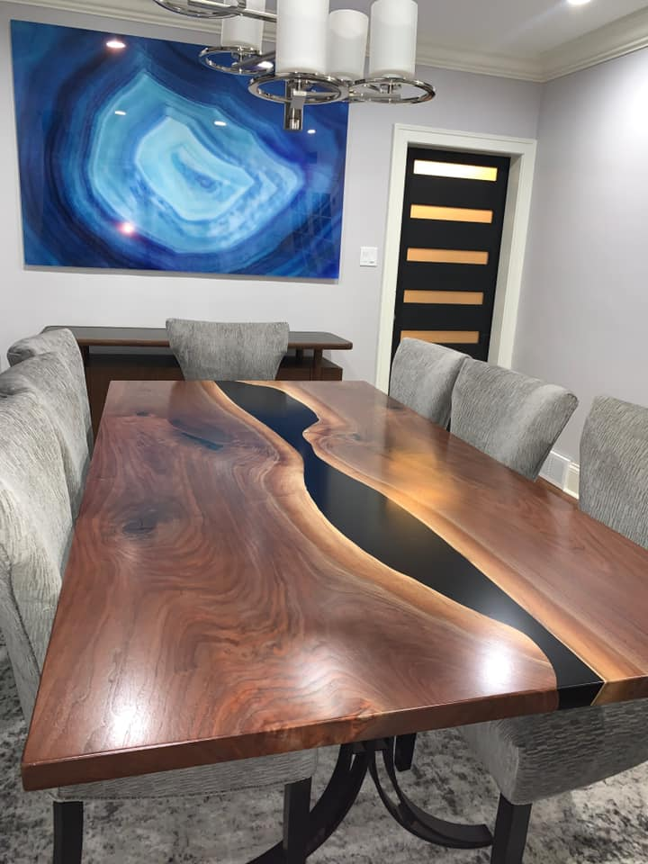 Custom Made High-End Live Edge And Epoxy Resin Furniture For Sale Locally Near You (U.S. Only) And Online By Chagrin Valley Custom Furniture [Stunning Photo Of Extra Large Rustic Modern Black Walnut Live Edge Dining Room Table With Black Epoxy Resin River Sold Online In 2020]