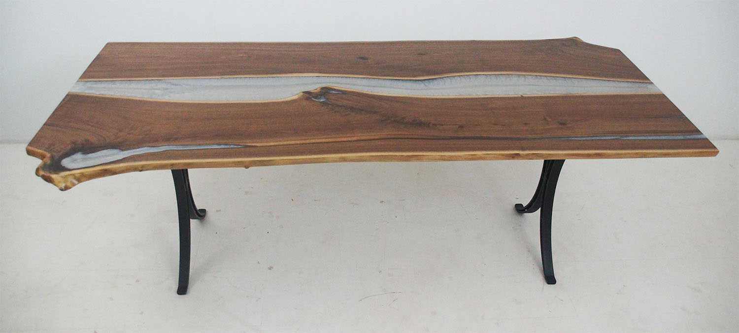 Live Edge Walnut Dining Table With White Pearl Resin River