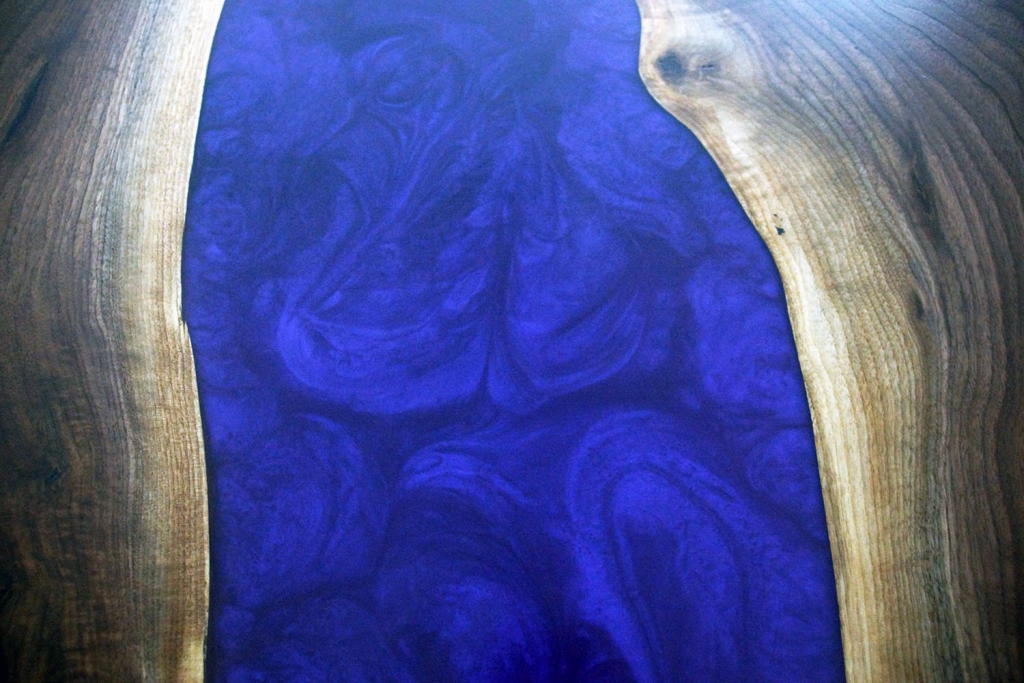 Custom Made Purple Epoxy Resin River And Black Walnut Dining Table Sold Online For $4K In 2020