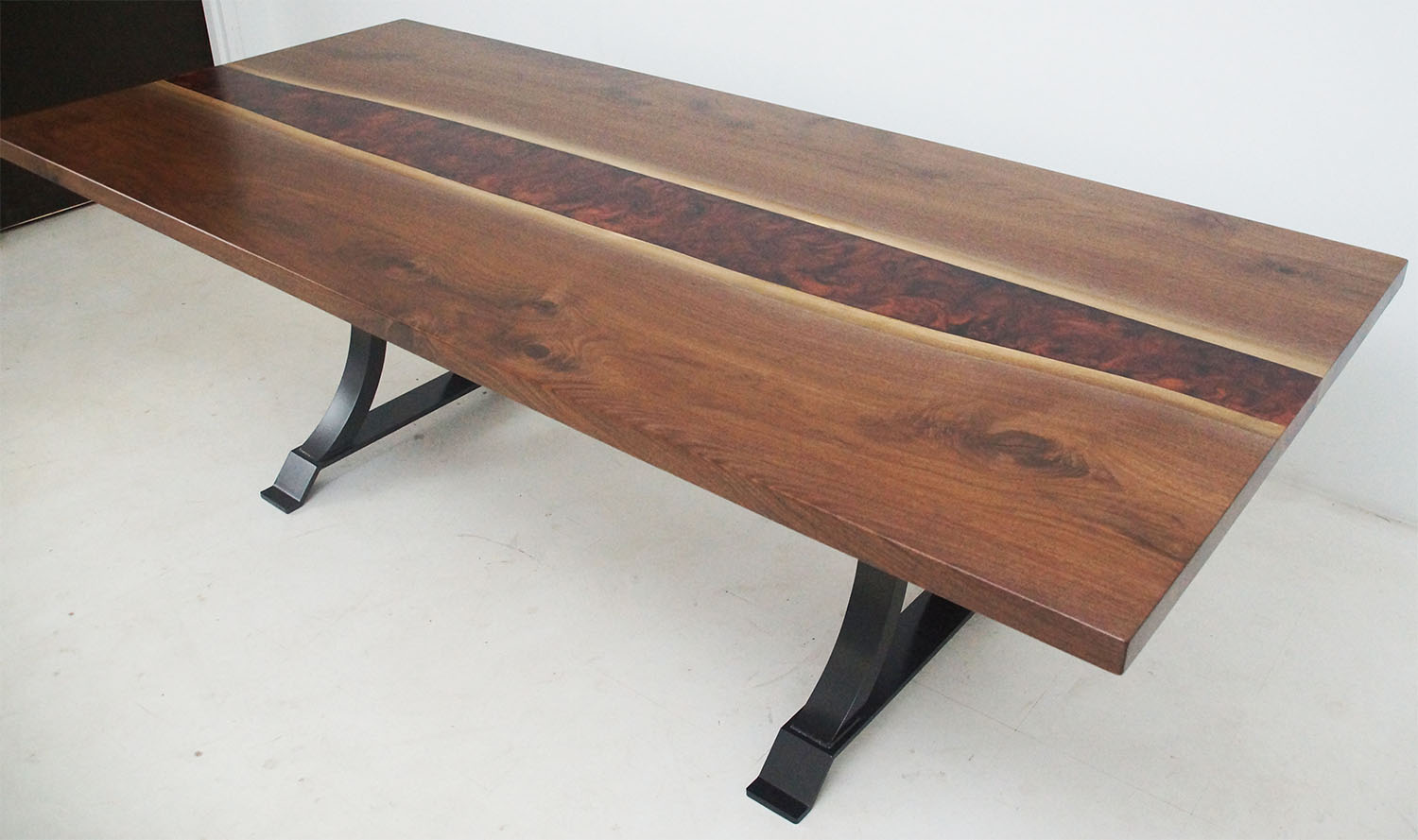 Walnut Dining Room Table With Copper & Black Epoxy Resin