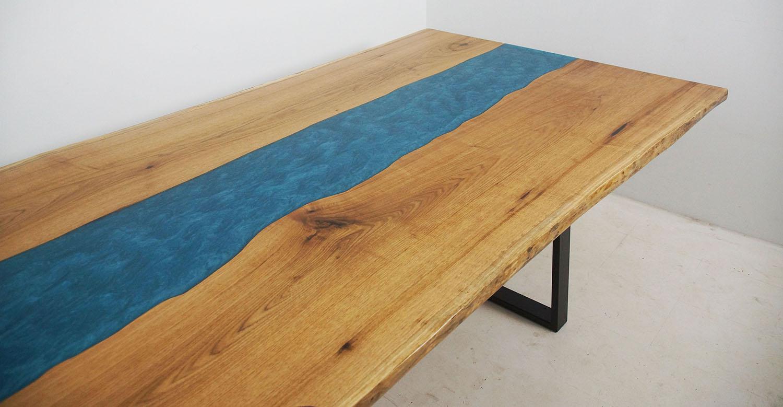 "Epoxy Resin ""Intercoastal Waterway"" Dining Table"