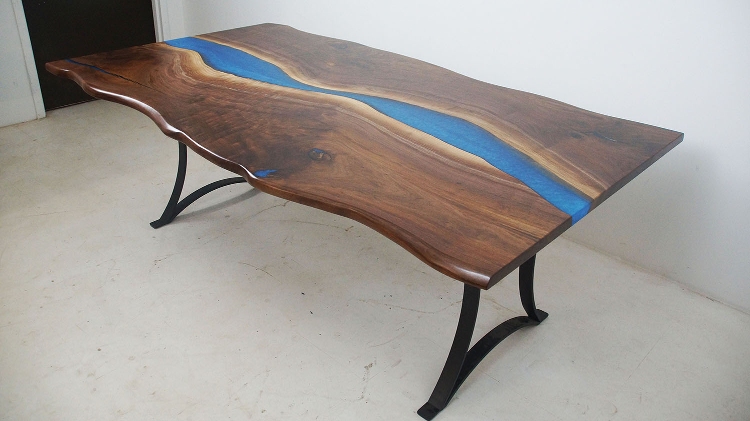 Live Edge Walnut Conference Table With Blue River