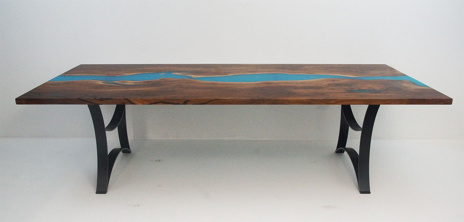 Walnut River Table With Teal Resin
