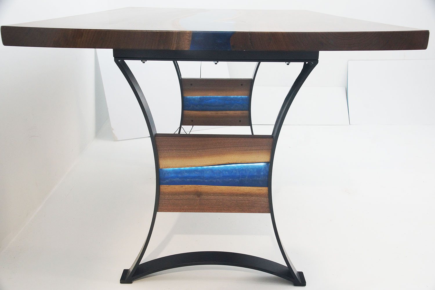 LED Lit Dining Room Table With Blue Resin & Specialty Base