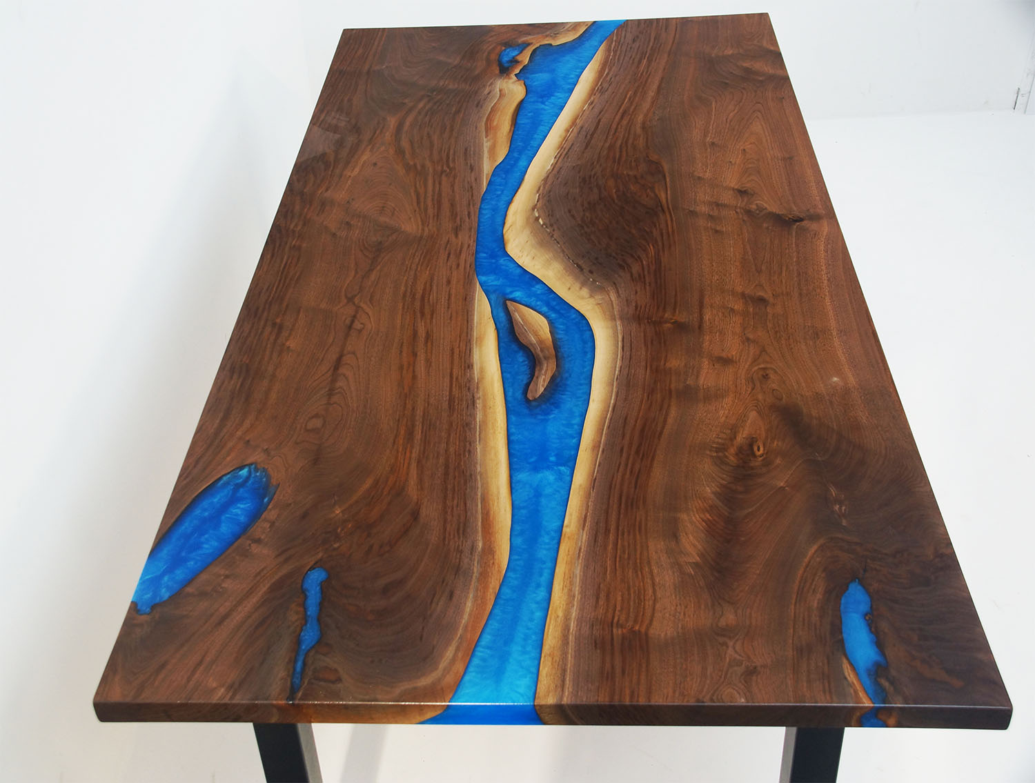 Dining Room Table In Walnut With Blue Resin River