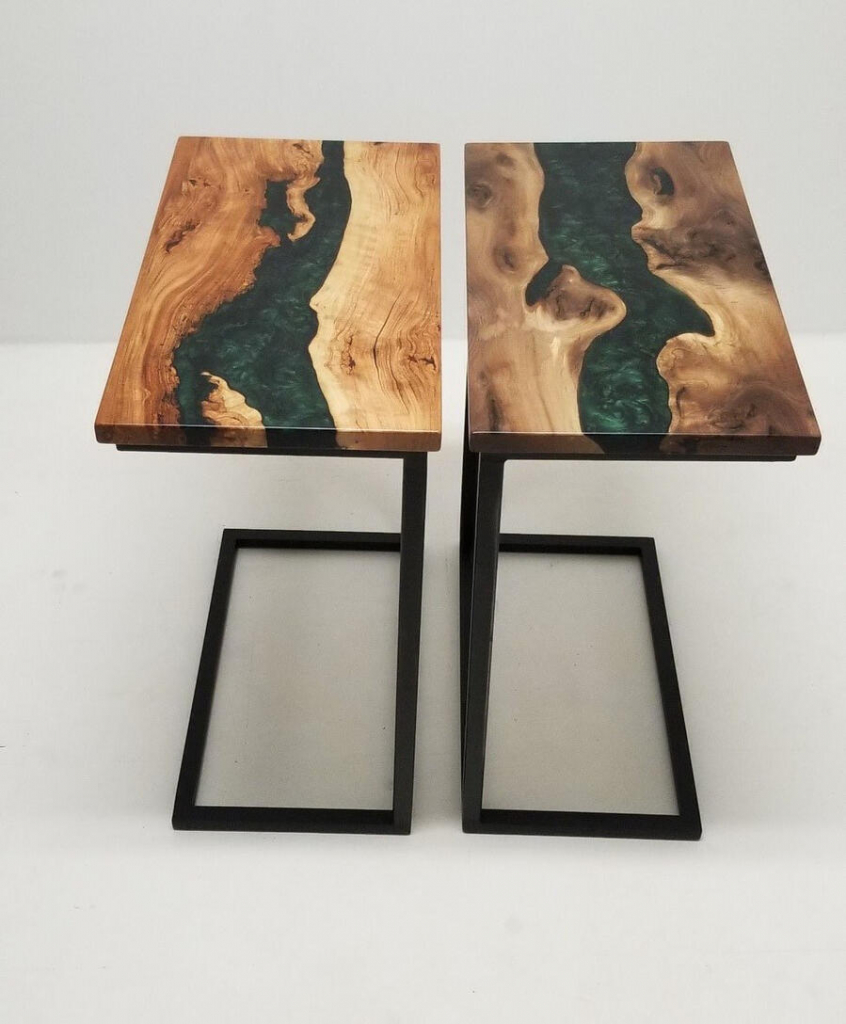 Small Epoxy Resin River End Table For Sale At CVCF River Table Online Store $950