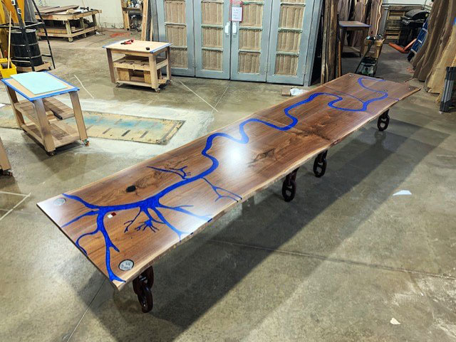 Black Walnut Live Edge Mississippi Epoxy Resin River Conference Table Custom Built By CVCF For The Crescent River Port Pilots Association Corporate Headquarters