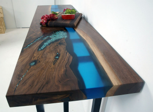 Custom Built Blue Epoxy Resin River Console Table For Sale At The CVCF River Table Online Store $1,900+