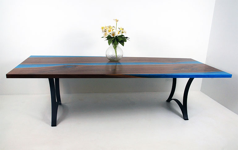 Blue Epoxy Resin River Dining Table Sold Online To California Customer $8,600+