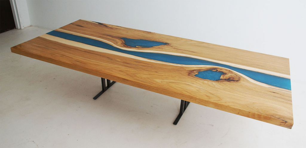 Hickory Live Edge Wood Slab Blue Epoxy Resin River Kitchen Island Top For Sale At CVCF River Table Online Store $3500+