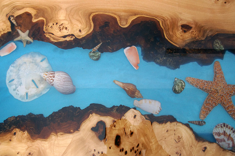 Buy A Custom Made Epoxy Resin Coral Reef Coffee Table - Beach Style End Table $2,400+ For Sale Locally Near You (U.S. Only) And Online By Chagrin Valley Custom Furniture
